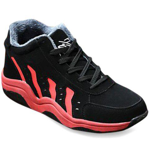 Casual Stripe and Flock Design Men's Athletic Shoes - RED/BLACK 44