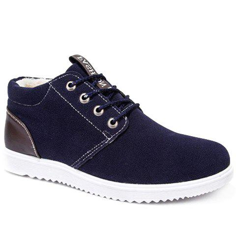 Trendy Lacing and Suede Design Men's Casual Shoes - BLUE 41