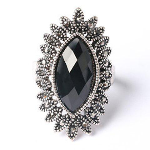 Chic Faux Gemstone Oval Ring For Men - BLACK ONE-SIZE