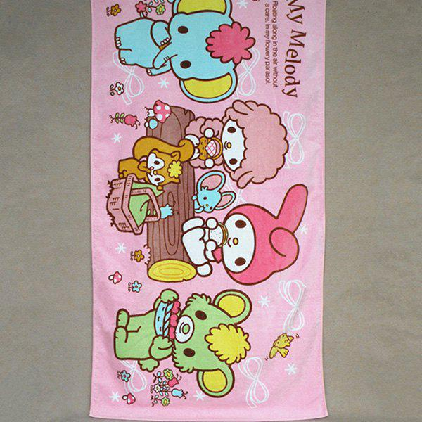 Fashionable Pink Cartoon Melody Design Cotton Beach Towel - PINK