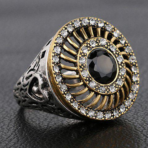 Chic Rhinestoned Faux Gemstone Round Hollow Out Ring For Men - BLACK ONE-SIZE