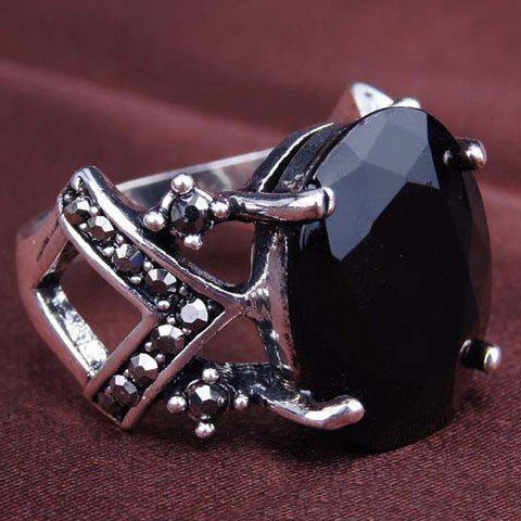 Fake Gemstone Geometric Hollow Out Ring - BLACK ONE-SIZE