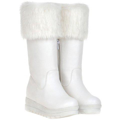 Fashionable Platform and Artificial Fur Design Mid-Calf Boots For Women