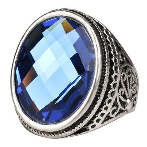Delicate Faux Gemstone Oval Carving Pattern Ring For Men - BLUE ONE-SIZE