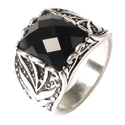 Vintage Faux Gemstone Rectangle Carving Pattern Ring For Men - SILVER ONE-SIZE