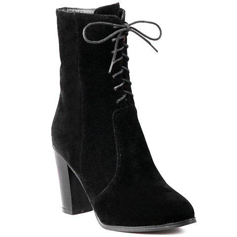 Stylish Lacing and Suede Design Short Boots For Women - BLACK 38