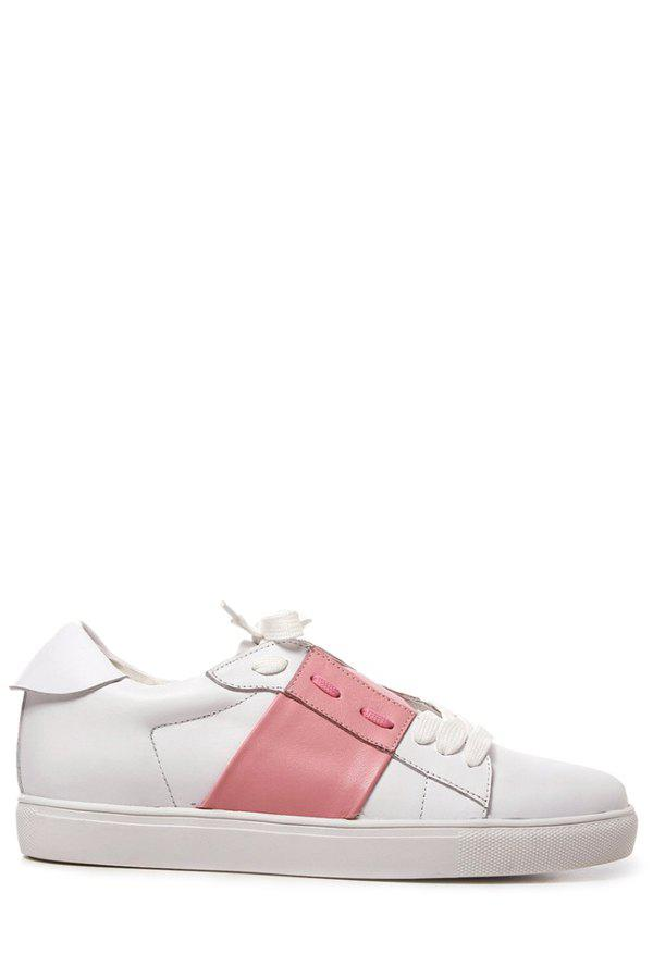 Trendy Lace-Up and Color Block Design Women's Sneakers - PINK 39