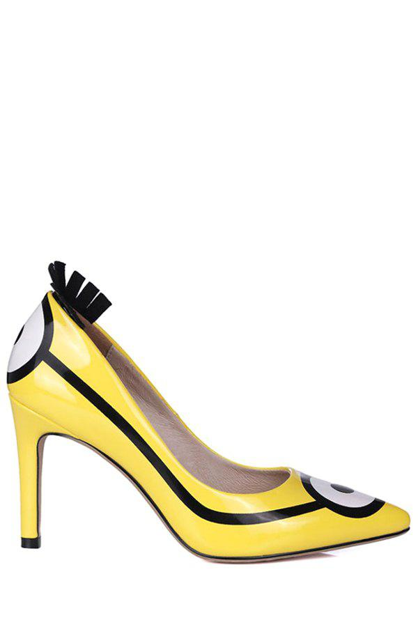 Casual Pointed Toe and Minions Print Design Women's Pumps - YELLOW 34
