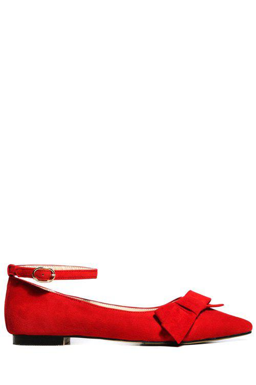 Sweet Pointed Toe and Ankle Strap Design Women's Flat Shoes - RED 38
