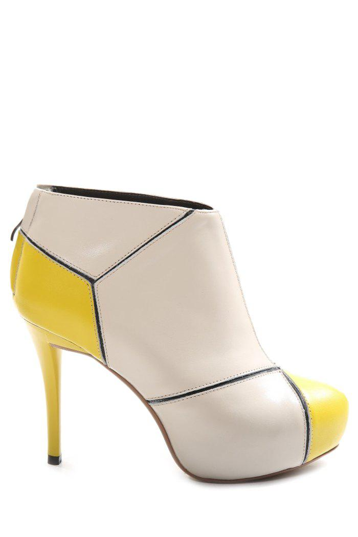 Trendy Color Block and Stitching Design Women's High Heel Boots - YELLOW 39