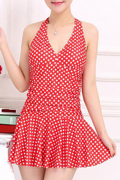 Stylish Women's V-Neck Halter Polka Dot  One-Piece Swimsuit
