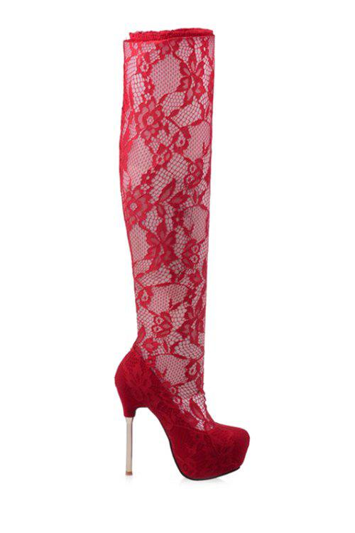 Sexy Lace and Platform Design Women's Thigh Boots - RED 36