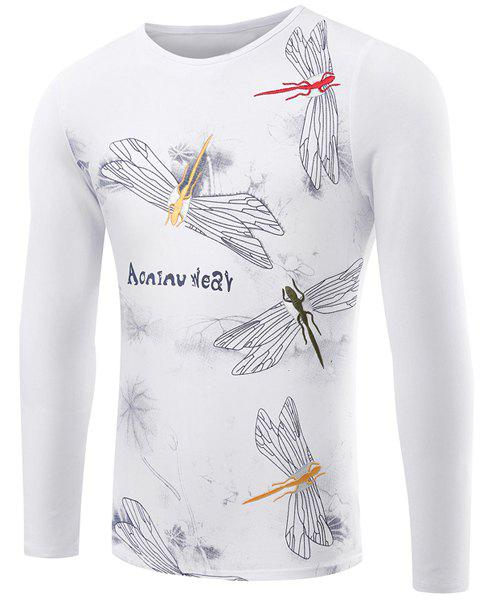 Men's Slim Fit Casual Pullover Round Collar Dragonfly Printed Long Sleeve T-Shirt