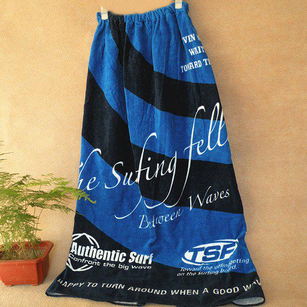 Hot Sale Striped Soft Cotton Color Block Strapless Bath Skirt Towel - DEEP BLUE