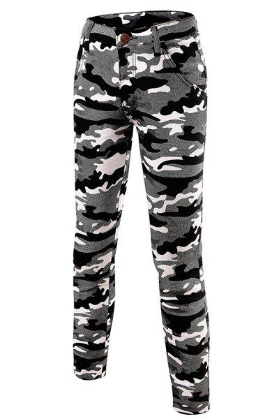 Casual Slim Fit Mid-Rise Waist Camouflage Printed Elasticity Long Pants For Men - BLACK 32