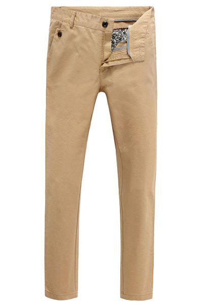 Casual Straight Leg Button and Pocket Embellished Solid Color Men's Zipper Fly Pants - KHAKI 29