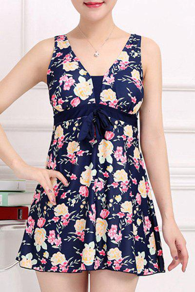 Stylish Women's V-Neck Bowknot Embellished Floral Printed One-Piece Swimsuit