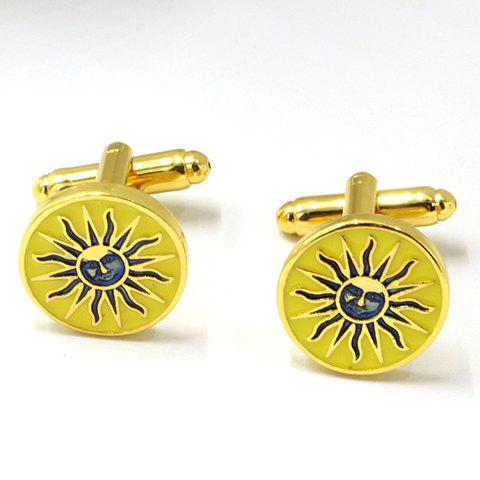 Pair of Stylish Sun-God Cameo Embellished Round Shape Alloy Cufflinks For Men