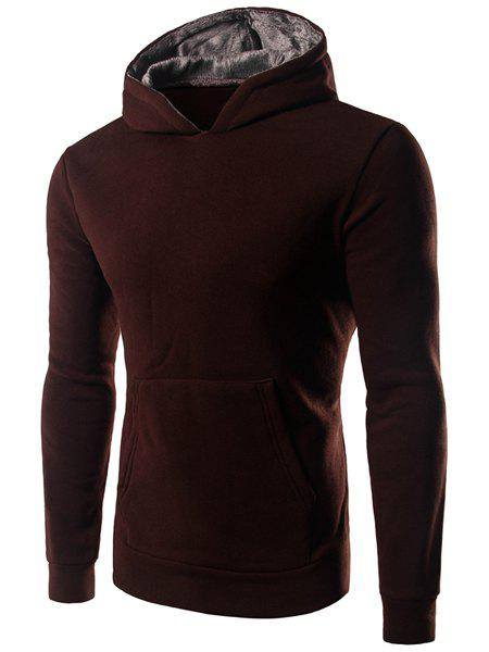 Men's Slim Fit Casual Pullover Solid Color Long Sleeve Hoodie - COFFEE 2XL