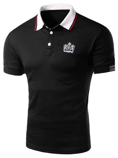 Applique Stripe Trim Slimming Polo T-Shirt - BLACK 2XL