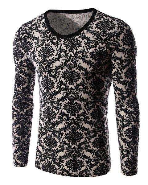 Elegant Tribal Print Color Block Slimming V-Neck Long Sleeves Men's Flocky T-Shirt