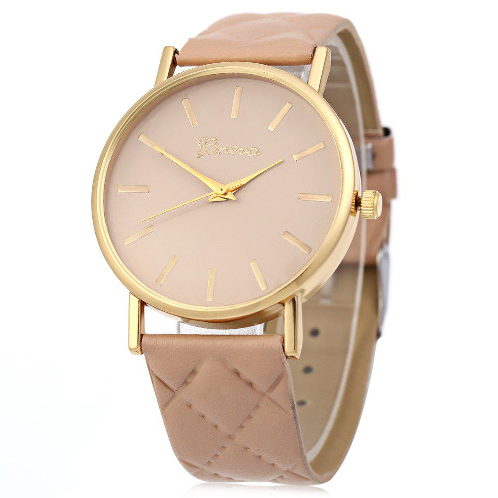 Women Quartz Watch Checks Leather Band Round Dial - BEIGE