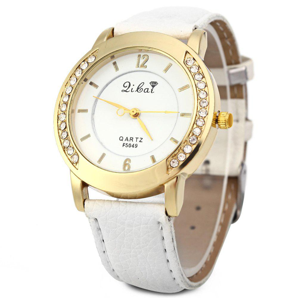Women Quartz Watch Leather Band Rhinestone Case - WHITE