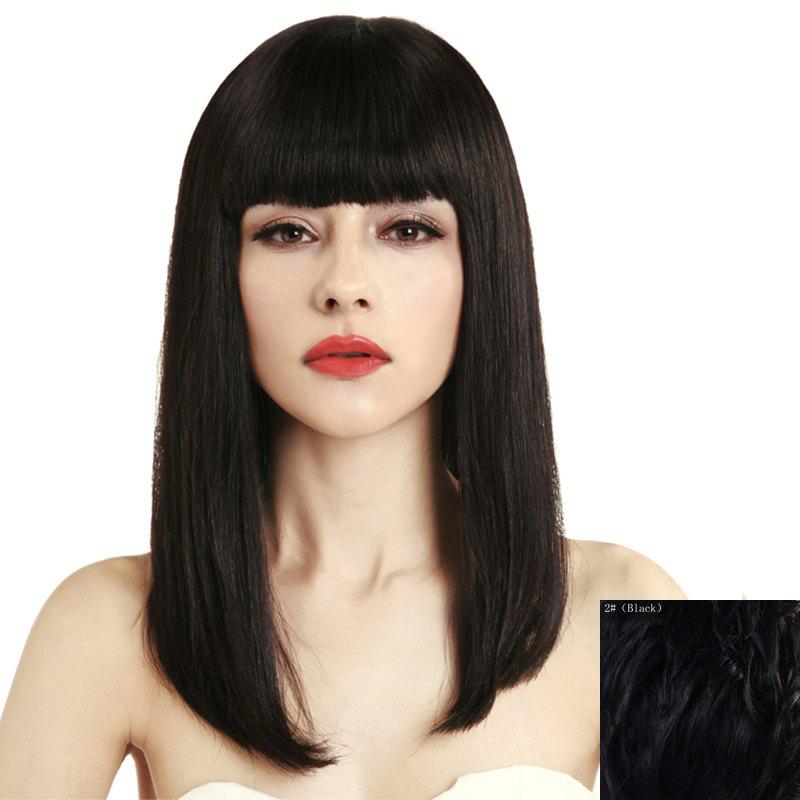 Stylish Long Stunning Neat Bang Capless Straight 100 Percent Human Hair Wig For Women