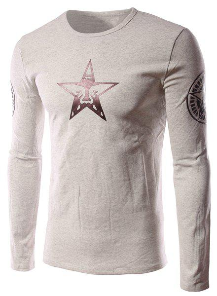 Funny Cartoon Star Pattern Solid Color Slimming Round Neck Long Sleeves Men's Flocky T-Shirt - LIGHT GRAY M