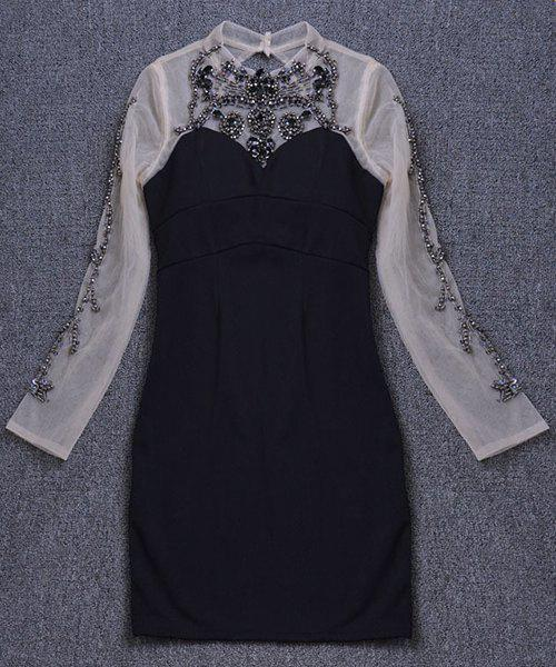 Trendy See-Through Long Sleeve Round Neck Beaded Dress For Women