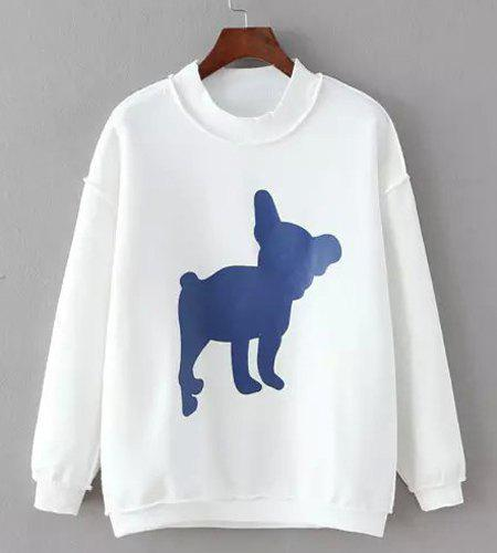 Casual Women's Round Collar Print Long Sleeves Sweatshirt - ONE SIZE(FIT SIZE XS TO M) WHITE