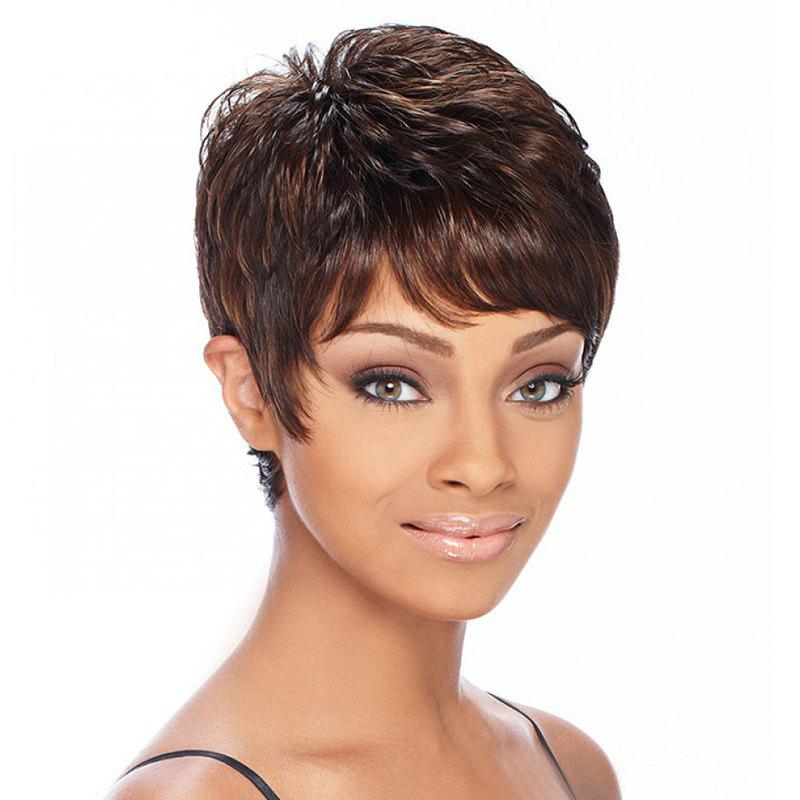 Noble Short Side Bang Fluffy Wavy Fashion Brown Mixed Gloden Synthetic Wig For Women - COLORMIX