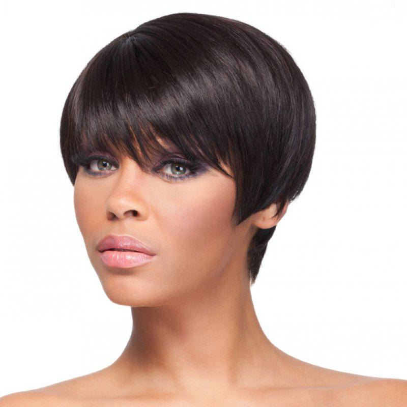 Trendy Straight Capless Outstanding Short Natural Black Synthetic Wig For Women