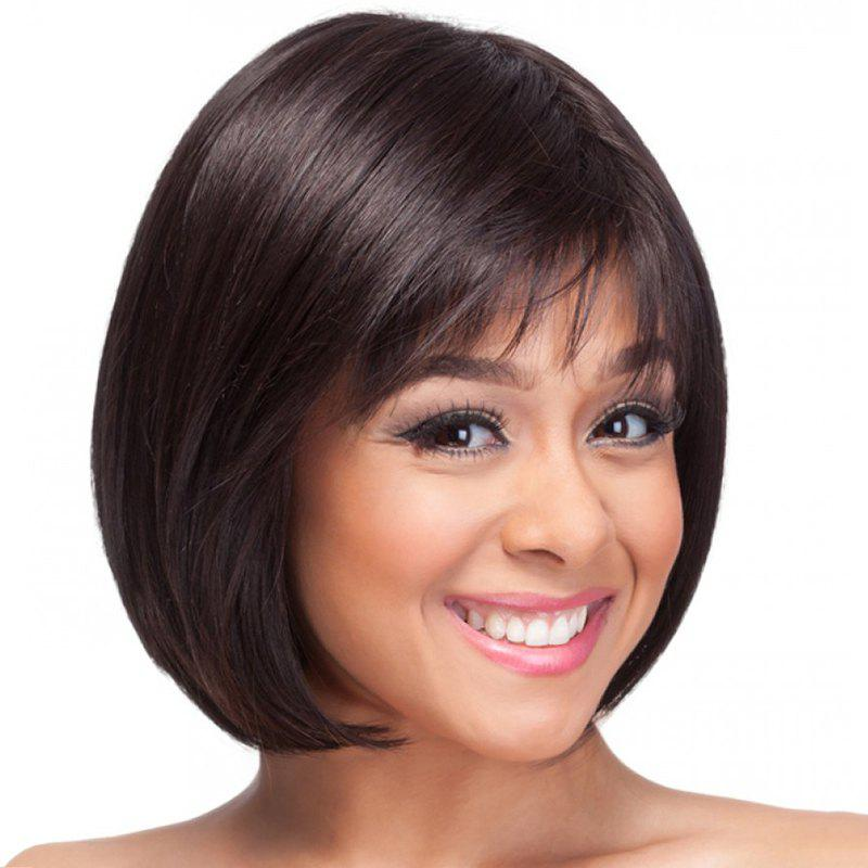 Bob Style Capless Sweet Straight Side Bang Trendy Short Women's Synthetic Wig popular sweet style side bang short natural straight synthetic capless women s white bob haircut wig
