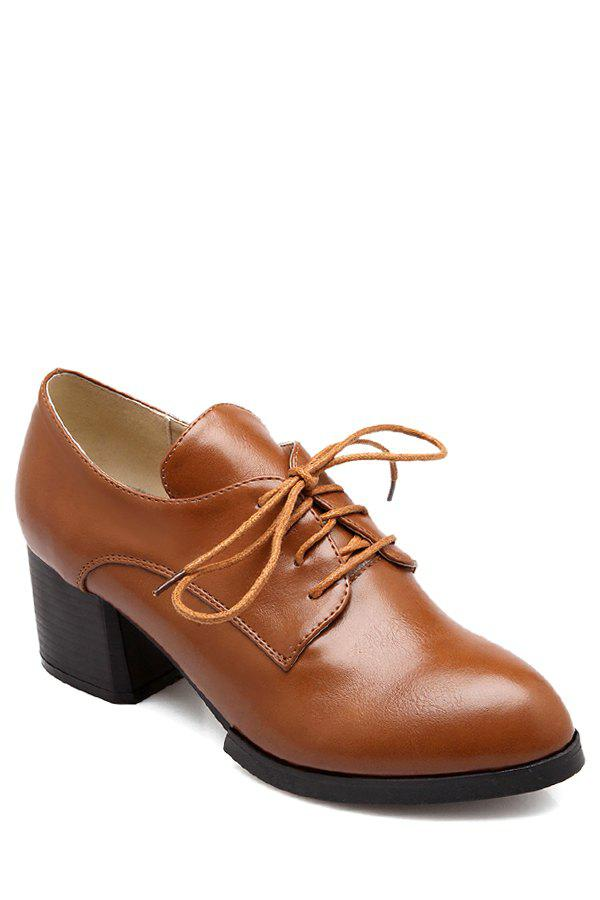 Simple Lace-Up and Solid Color Design Women's Pumps - BROWN 38