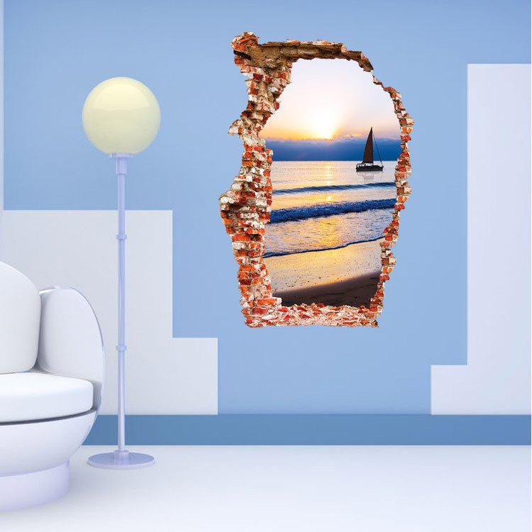 3D Sea Boat Sunset Style Removable PVC Wall Stickers Water Resistant Home Art Decals 167005801