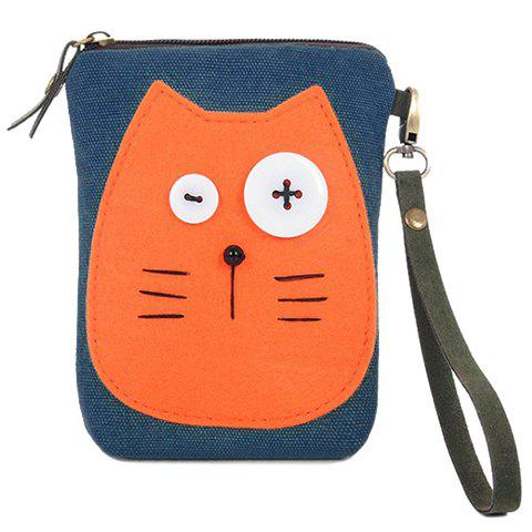 Cute Cat Face and Color Matching Design Clutch Bag For Women
