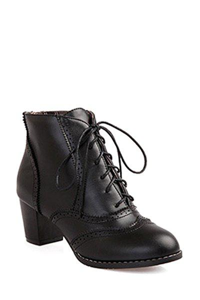 Retro Carving and Lace-Up Design Women's Ankle Boots - 35 BLACK