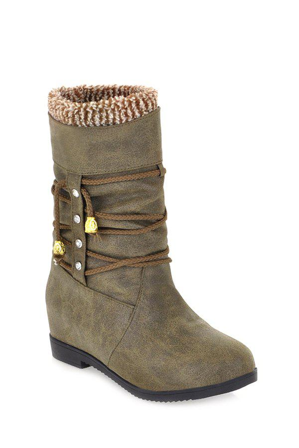 Trendy Lacing and Rhinestone Design Women's Mid-Calf Boots - ARMY GREEN 36