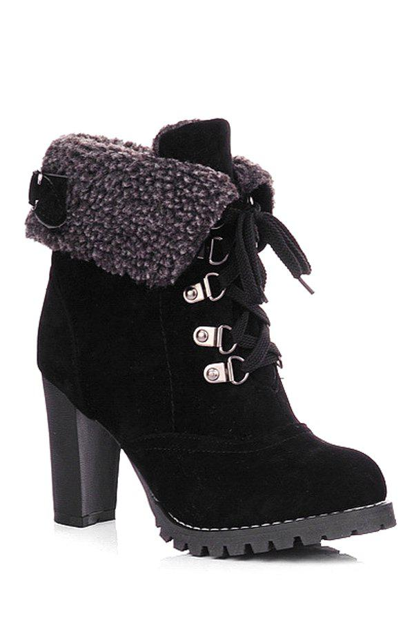 Trendy Buckle Strap and Lace-Up Design Women's High Heel Boots - BLACK 35