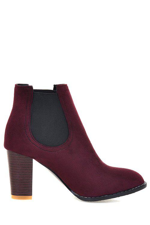Concise Elastic Band and Solid Color Design Women's Ankle Boots - RED 39