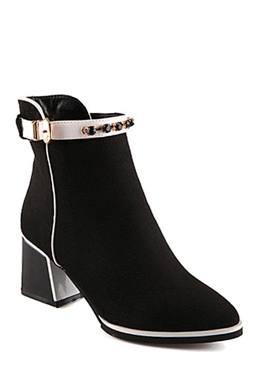 Stylish Rhinestone and Solid Color Design Women's Short Boots - BLACK 36