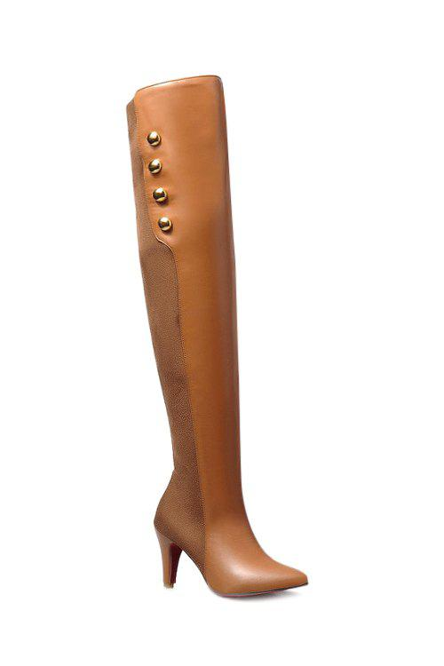Trendy Splicing and Golden Button Design Women's Thigh Boots - BROWN 35