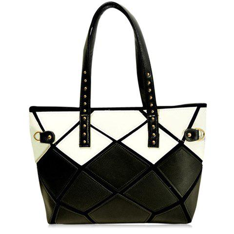 Fashionable Colour Block and Geometric Pattern Design Shoulder Bag For Women - WHITE/BLACK