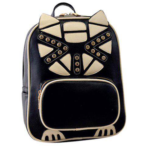 Stylish PU Leather and Patchwork Design Backpack For Women - BLACK