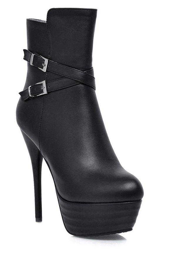 Sexy Criss-Cross and Solid Color Design Women's High Heel Boots - BLACK 36