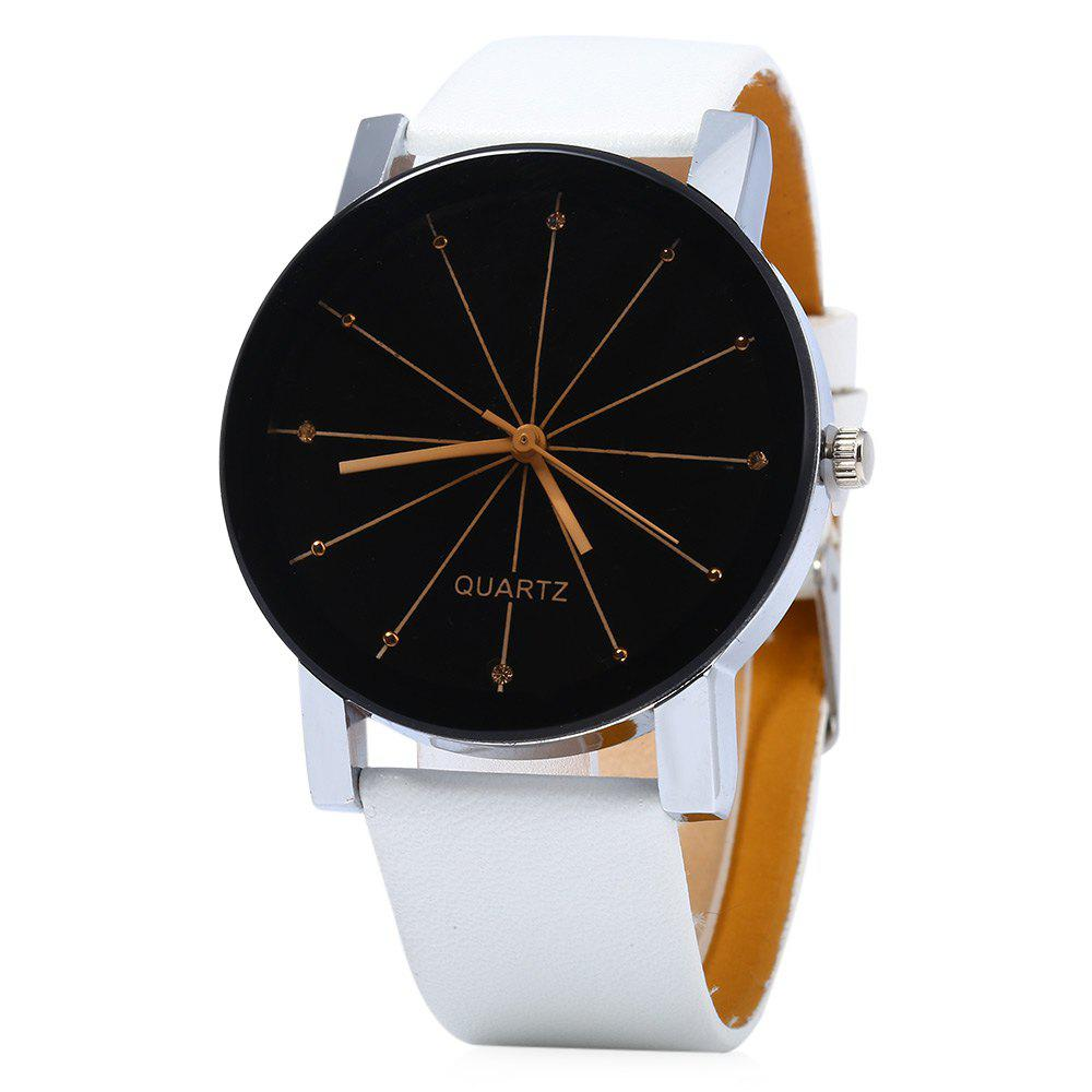 Men Quartz Watch Line Dial Leather Band - WHITE