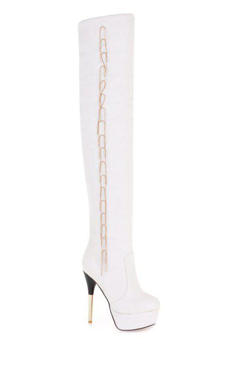 Sexy Metal Fringe and Stiletto Heel Design Women's Thigh Boots - WHITE 39