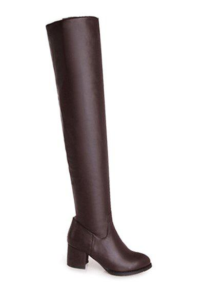 Concise Solid Color and Chunky Heel Design Women's Thigh Boots - DEEP BROWN 34