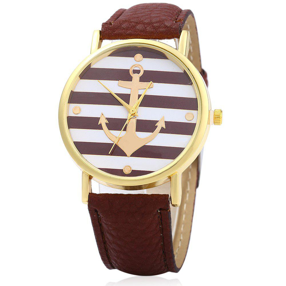 Men Women Quartz Watch Anchor Pattern Dial Leather Band Round Dial - COFFEE